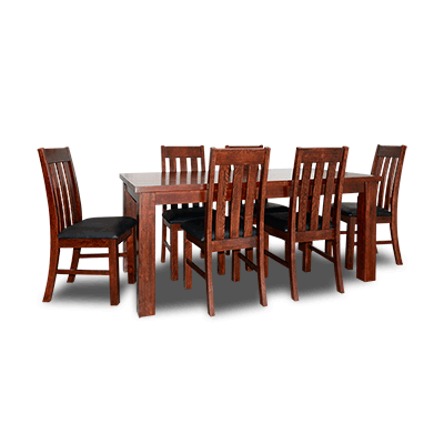 Oakland 1.8m Dining Table+Chairs (Dark)